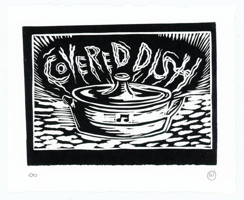 Covered Dish block print by Oli Watt