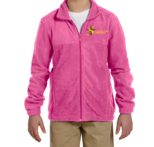 FLEECE ZIP UP PINK with Logo