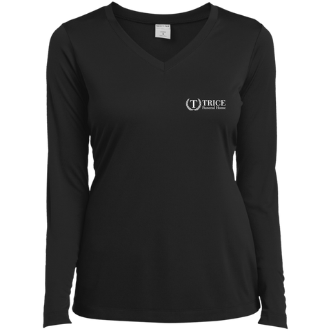 Trice Funeral Home LST353LS Sport-Tek Ladies' LS Performance V-Neck T-Shirt