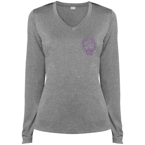 NFD&MA LST360LS Sport-Tek Ladies' LS Heather Dri-Fit V-Neck T-Shirt