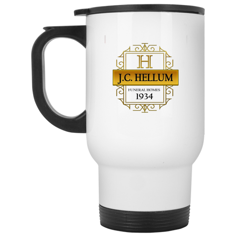 J.C. Hellum Funeral Homes XP8400W White Travel Mug