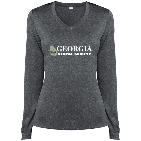 Georgia Dental Society (GDS) LST360LS Sport-Tek Ladies' LS Heather Dri-Fit V-Neck T-Shirt