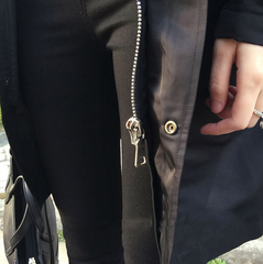black raincoat zip details