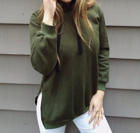 Khaki Hoodie With Side-Zip