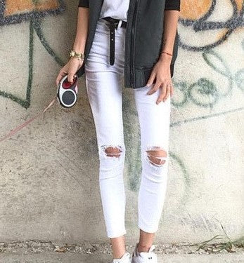 white knee ripped jeans