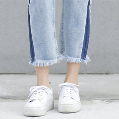 cropped blue denim trouser details
