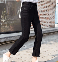 black cropped denim trouser