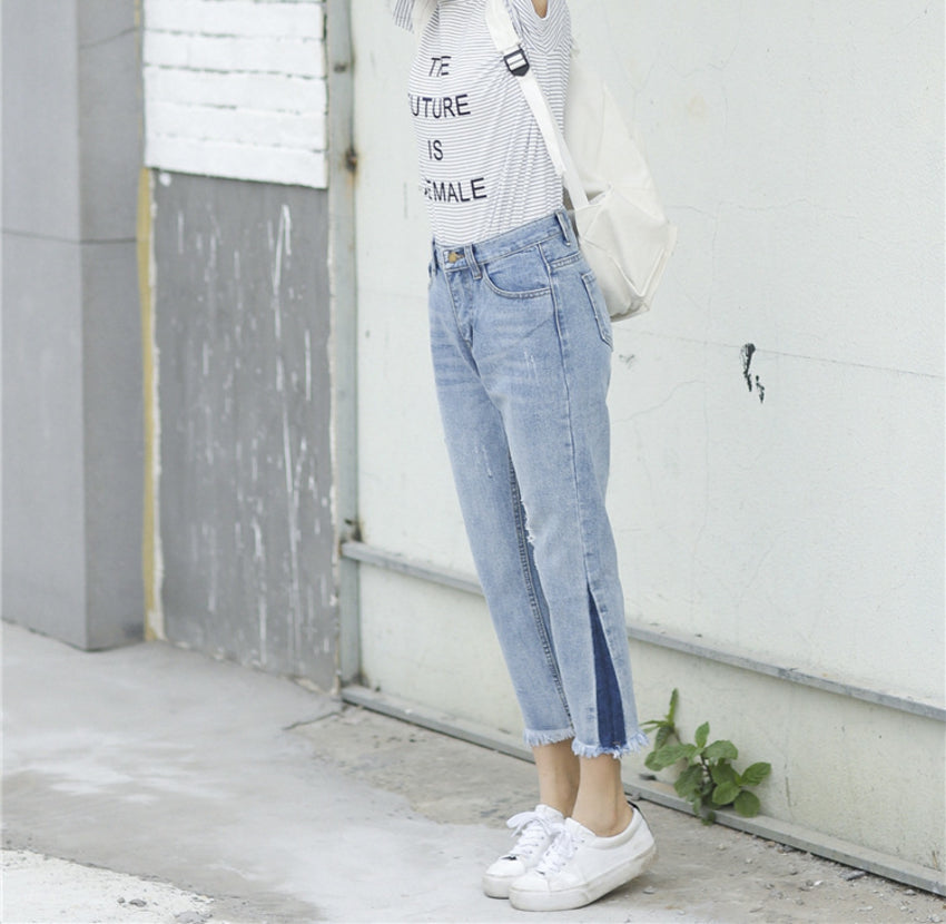 korean fashionable cropped jeans