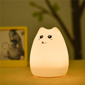 TO DO! 2017 Cute Cat Lamp Colorful Light Silicone Cat Night Lights 2 Modes Children Cute Night Lamp Bedroom Rechargeable Touch Sensor - Lucibell