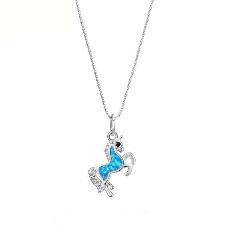 Silver horse blue fire opal pendant necklace mystical and exotic silver horse blue fire opal pendant necklace free shipping aloadofball Images