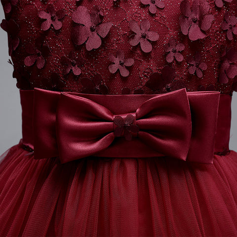 0cb0a57b81503 Girls Wine Red Party Dress, Special Occasion Girls Dress, Age 6m-8yrs