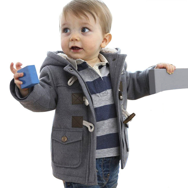 save up to 80% buy online good Boys Duffle Coat Winter Jacket, Grey, Size 1-6Yrs