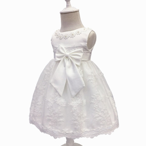 b9e095a94 Baby Princess Bow Dress, White, Size 3M-18M – Bluebells And Beaus ...