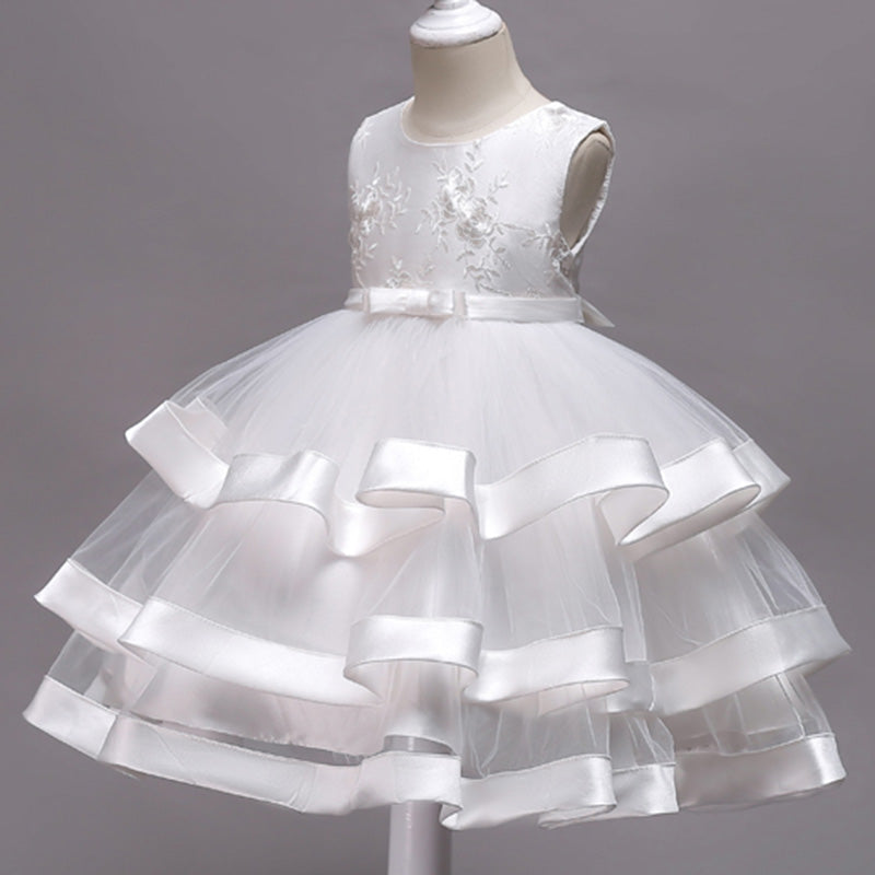 Frilled Floral White Dress, Size 3-10 Yrs
