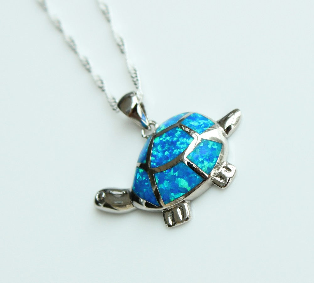 free silver jewelry shipping for wholesale opal from product shape blue drop fire necklace heart dolphin pendant double