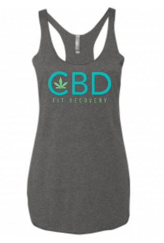 CBD Fit Recovery Ladies Tank - Charcoal Gray - CBD Fit Recovery