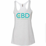 CBD Fit Recovery Ladies Tank - Heather White - CBD Fit Recovery