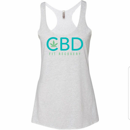 CBD Fit Recovery Ladies Tank - Heather White