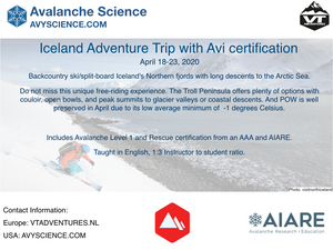 Iceland Trip with Avalanche Level1 and Rescue Certification (April 5-12, 2021)