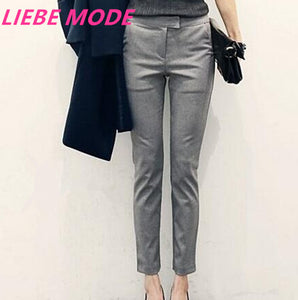 4b6fc55fc98f2 2018 Womens Black Grey Formal Trousers For Women Mid Waist Pants Skinny  Dress Pant Trouser Office