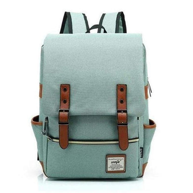 Backpack, Slim Canvas Design-Bags-The Daily Vintage-Light Green-The Daily Vintage