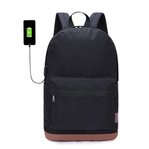 "Canvas Backpack, 15""-Bags-The Daily Vintage-Black + USB-The Daily Vintage"
