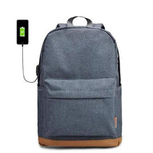 "Canvas Backpack, 15""-Bags-The Daily Vintage-Light Grey + USB-The Daily Vintage"