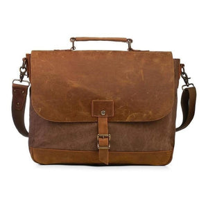 Canvas Messenger Bag with Padded Interior-Bags-The Daily Vintage-One Size-Brown-Canvas-The Daily Vintage