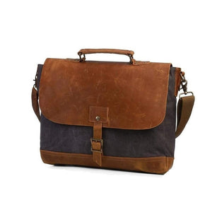 Canvas Messenger Bag with Padded Interior-Bags-The Daily Vintage-One Size-Grey-Canvas-The Daily Vintage