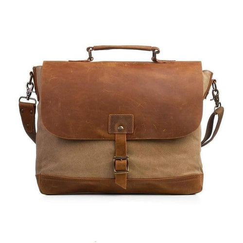 Canvas Messenger Bag with Padded Interior-Bags-The Daily Vintage-One Size-Khaki-Canvas-The Daily Vintage