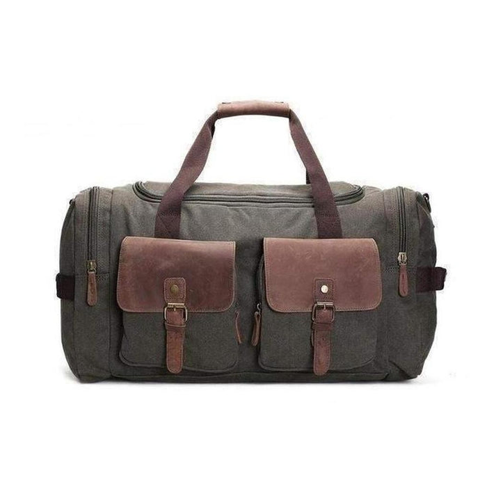Duffel Bag, Canvas and Leather-Travel Bags-The Daily Vintage-Army Green-One Size-Canvas-The Daily Vintage