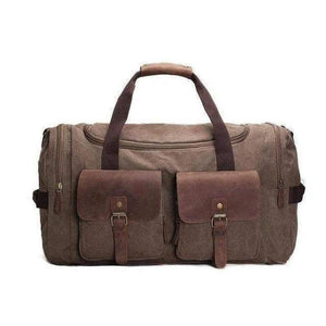 Duffel Bag, Canvas and Leather-Travel Bags-The Daily Vintage-Coffee-One Size-Canvas-The Daily Vintage
