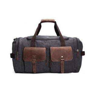 Duffel Bag, Canvas and Leather-Travel Bags-The Daily Vintage-Dark Gray-One Size-Canvas-The Daily Vintage