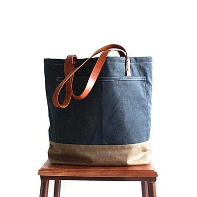 Handmade Canvas Tote Bag-Bags-Rock Cow Leather Studio-The Daily Vintage