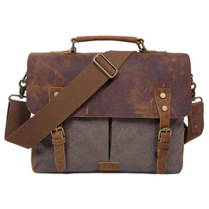 Messenger Bag, Canvas and Leather-Bags-The Daily Vintage-One Size-Brown-Canvas-The Daily Vintage