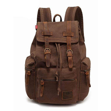Vintage Canvas Leather Backpack-Bags-The Daily Vintage-Coffee-14 Inches-The Daily Vintage