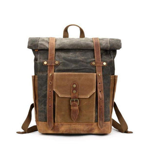 Waxed Canvas Backpack, Vintage Rucksack, Travel Backpack-Bags-Rock Cow Leather Studio-The Daily Vintage