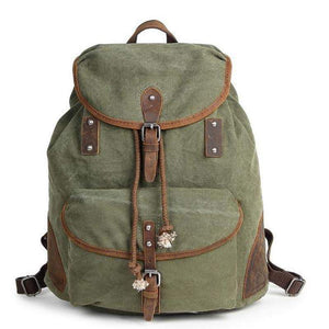 Waxed Canvas Large Backpack, Canvas and Leather Rucksack-Bags-Rock Cow Leather Studio-One Size-Green-Waxed Canvas-The Daily Vintage