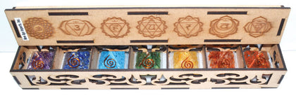 25-30mm Orgone 7 Chakra Pyramid Set With Box