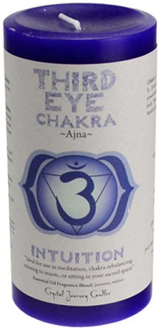 "Third Eye Chakra Pillar Candle 3"" x 6"" - 90 Days From Now Manifestation Planner"