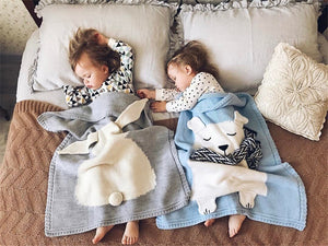 Nordic Cute Bear Knitted Blanket For Kid's Room Bed Spread Bath Towels Play Mat Christmas Day Baby Best Gifts Home Ornament