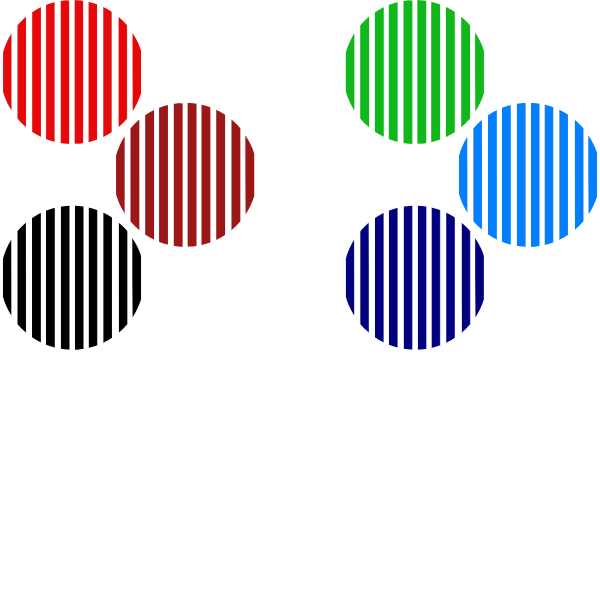 Assorted Color Striped Circles - 6 pack (all same device)