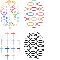 Cross & Fish Pattern Ovals - 4 Pack (same device)