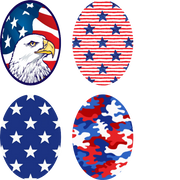 Red White & Blue Ovals - 4 Pack (for same device)