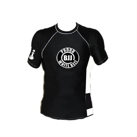 The Official Proud BJJ White Belt Rashguard Top Mount Jiu Jitsu LIfestyle Apparel