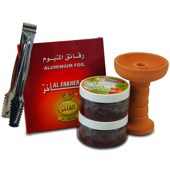 Shiazo Pack 2 - Chicha Pierres , Ceramic Foyer Punnel, Pinces et Al Fakher Foils Pack