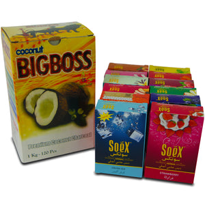Soex Mélasse Chicha Narguilé authentique Herbal Lot de 12 x 50 g avec BigBoss Coco Charbon