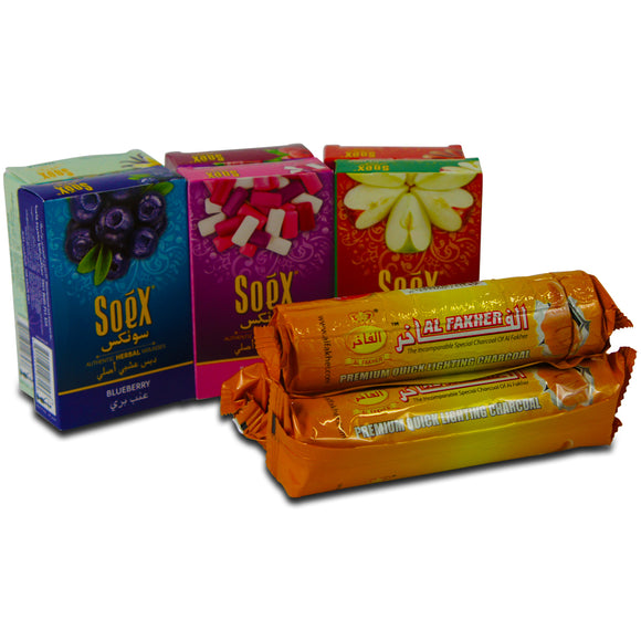 Soex Mélasse Chicha Narguilé authentique Herbal Lot de 6 x 50 g avec 3 Rouleaux Al-Fakher Charbons