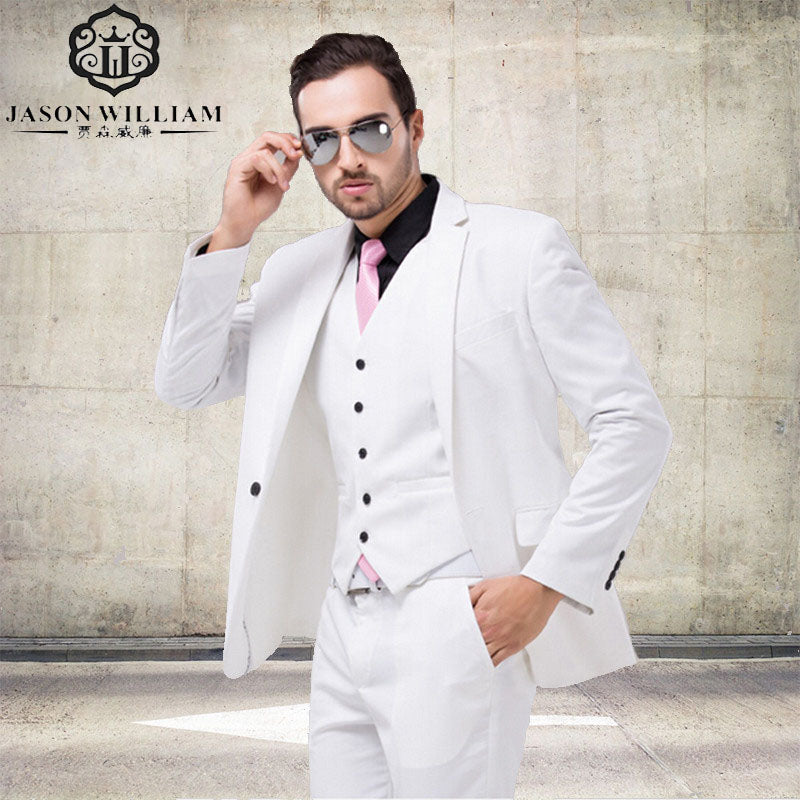 LN008 Italian Luxury Mens White Suit Jacket Pants Formal Dress Men ...
