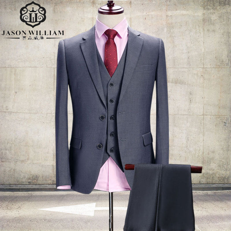 LN042 Gray Wedding Tuxedo Custom Made Grey Suits Gray Groom Suit ...